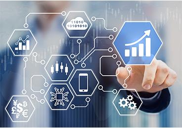 Homme d'affaires touchant les icônes de données et d'analyse BI